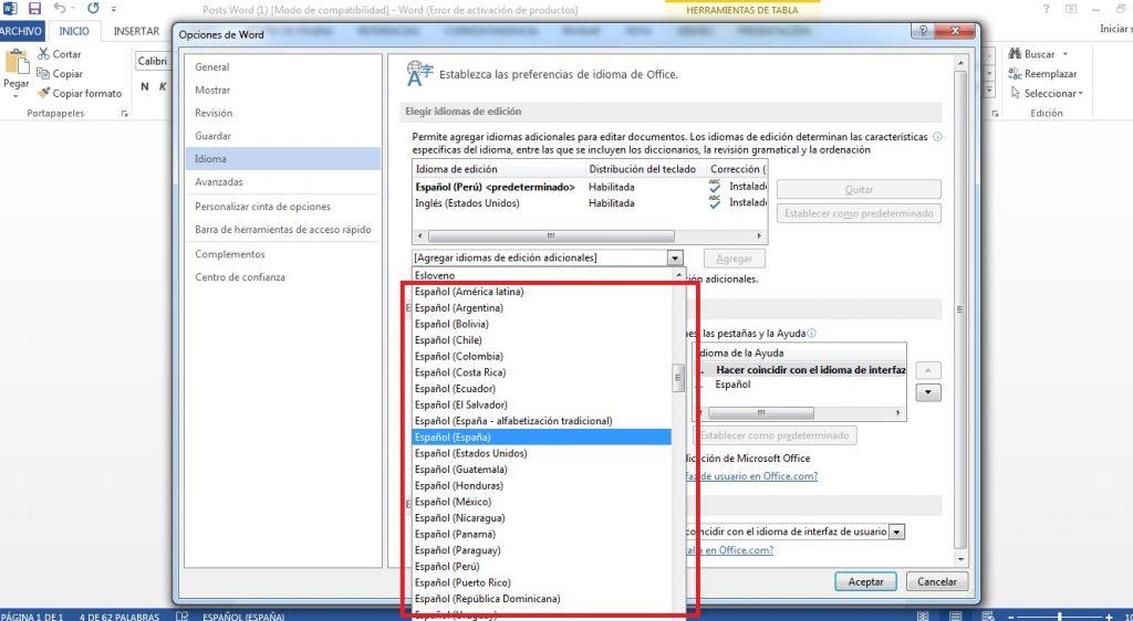 Microsoft Word en español