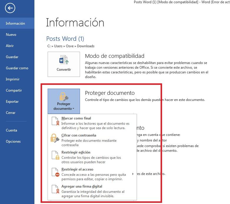 Cómo proteger documentos en Microsoft Word