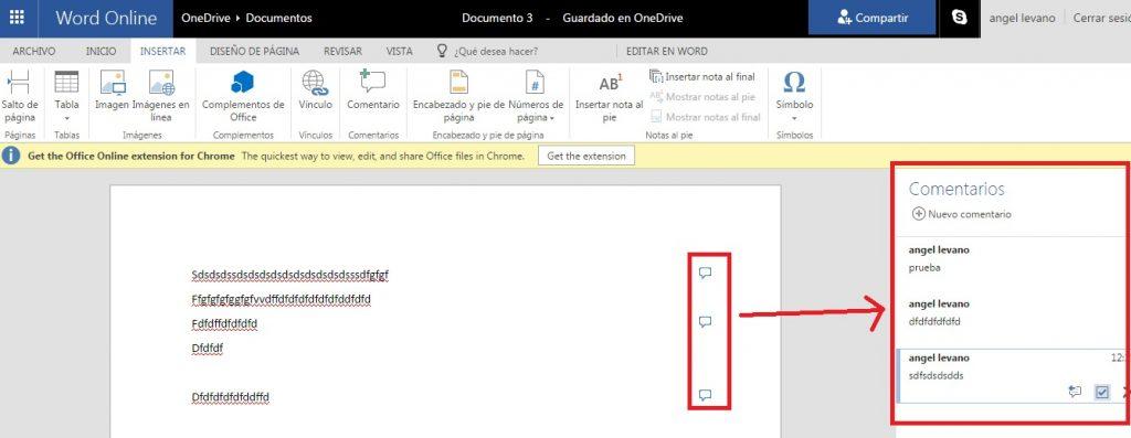 Añadir comentarios en documentos de Word Online