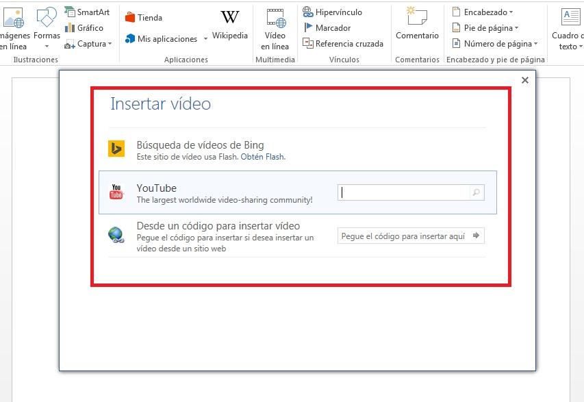 Cómo insertar videos Online en documentos de Microsoft Word