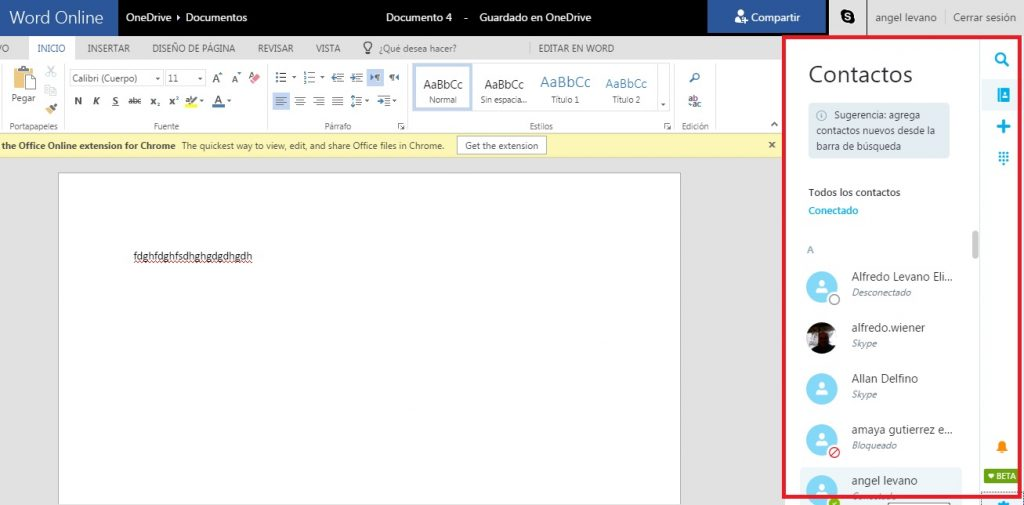 Chatear en Skype desde Word Online