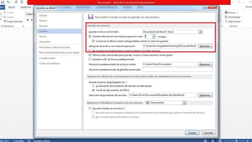 Configurar guardado automático de documentos de Word