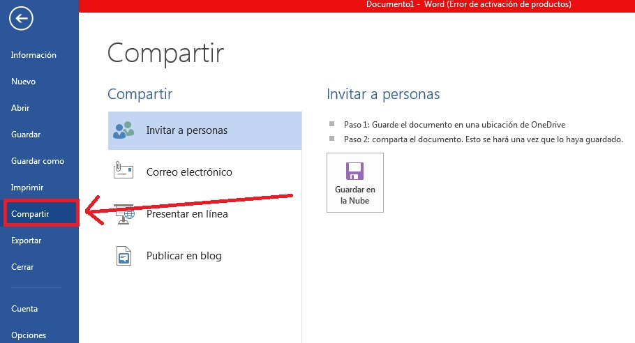 Guardar documentos de Word en la nube