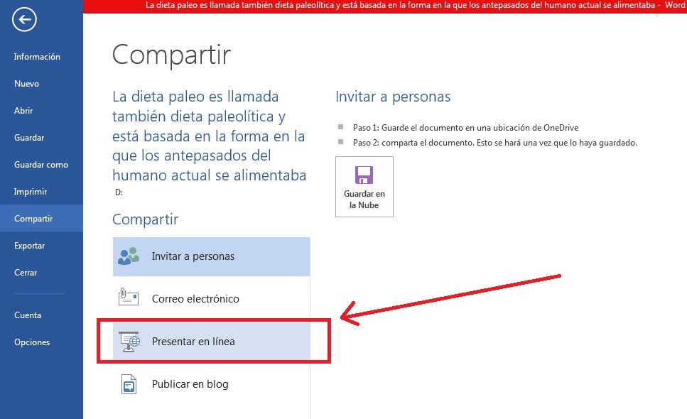 Presentar en línea documentos de documentos en Word