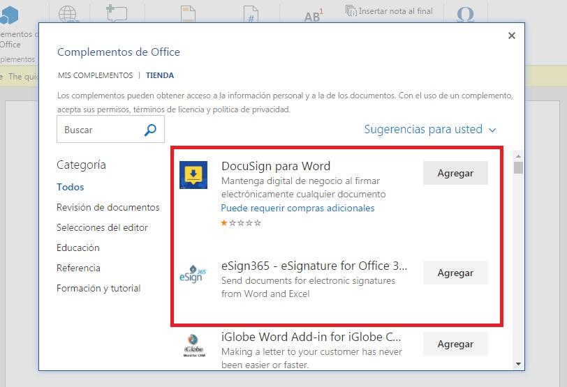 Insertar complementos de Office a word Online