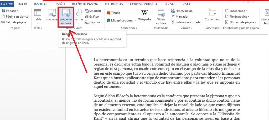 Cómo insertar imágenes Online en documentos de Word