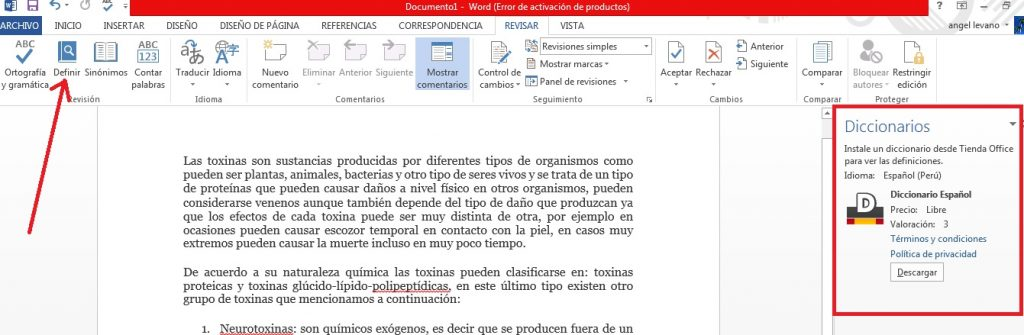 Instalar función diccionario español en Word