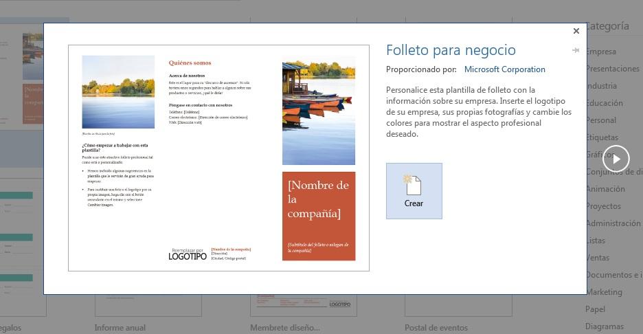Elegir plantillas empresariales para documentos en Microsoft Word