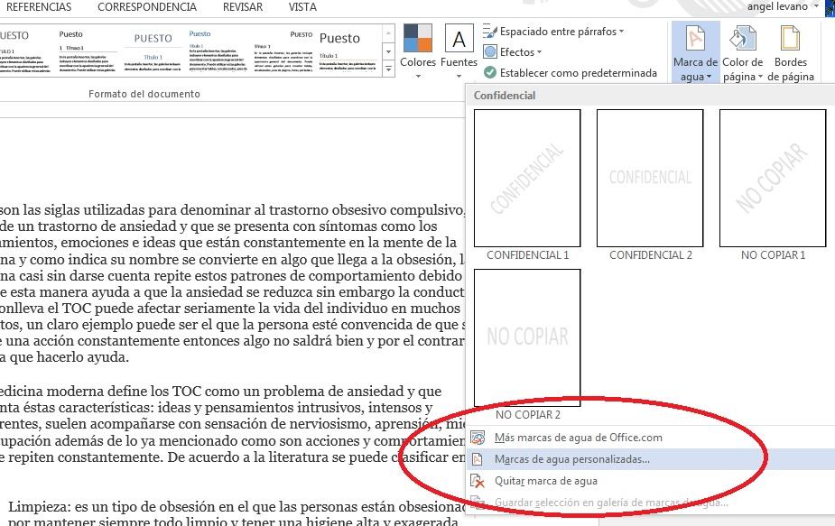 Añadir marca de agua en documentos de Word