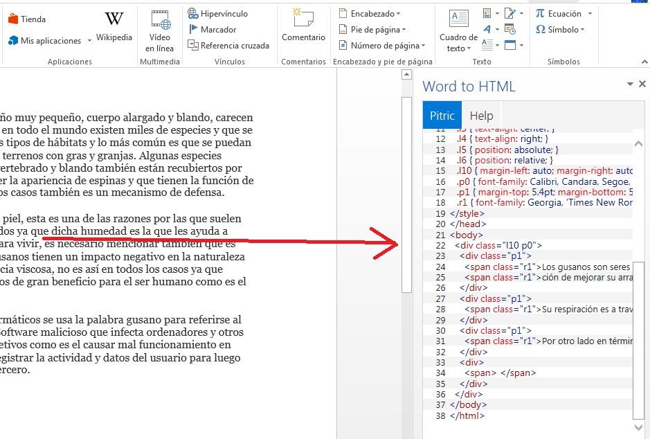 Agregar complemento para convertir documentos en formato HTML