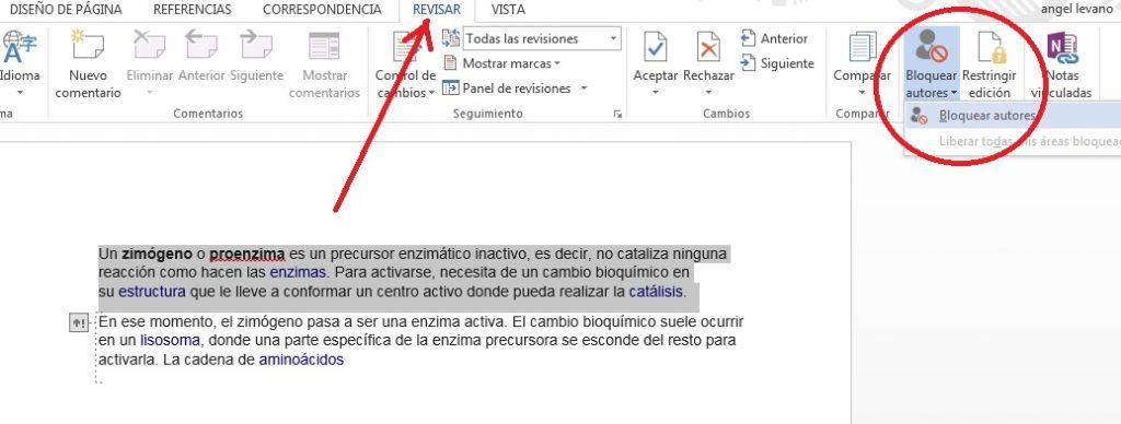 Bloquear autores temporalmente en documentos colaborativos de MS Word