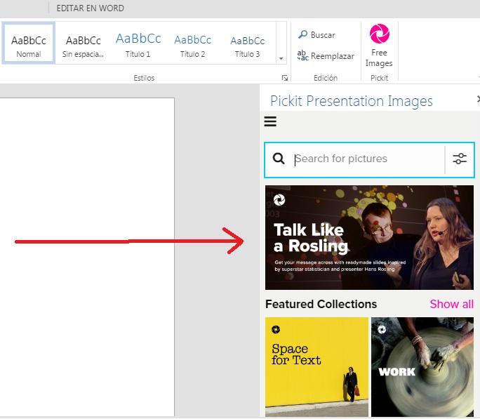 Descargar complemento Pickit para insertar imágenes en Word Online