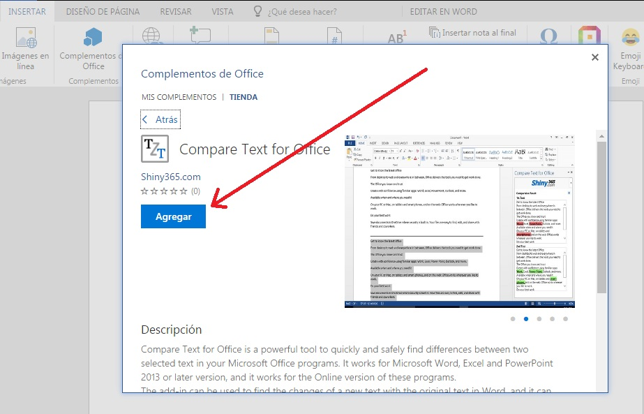 Herramienta para hacer comparación de texto en documentos de Word Online