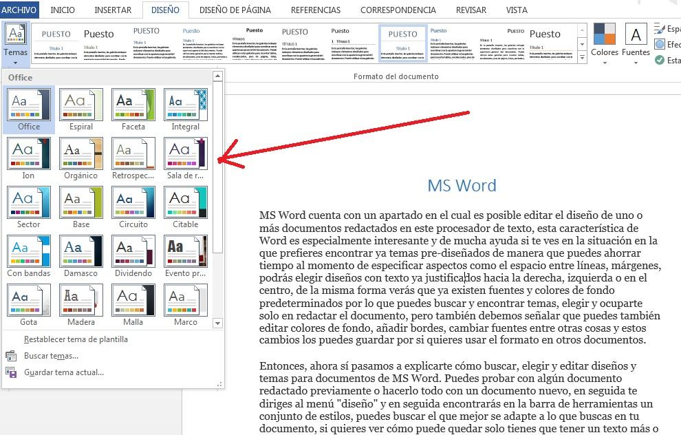 Editar estilos de documentos en MS Word