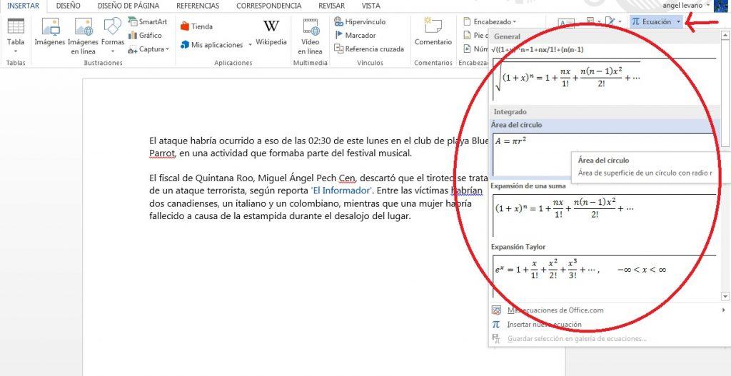 Insertar ecuaciones y operaciones en documentos de Word