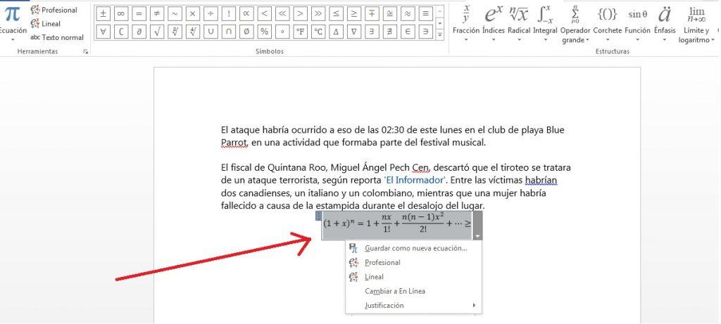 Añadir ecuaciones matemáticas en documentos de MS Word
