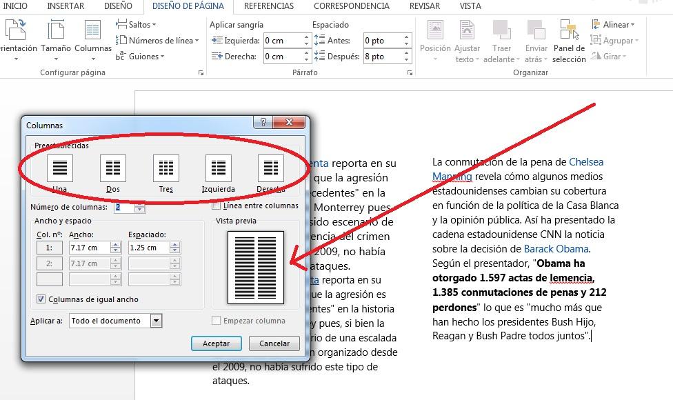 Trabajar en documentos divididos en dos o más columnas en MS Word