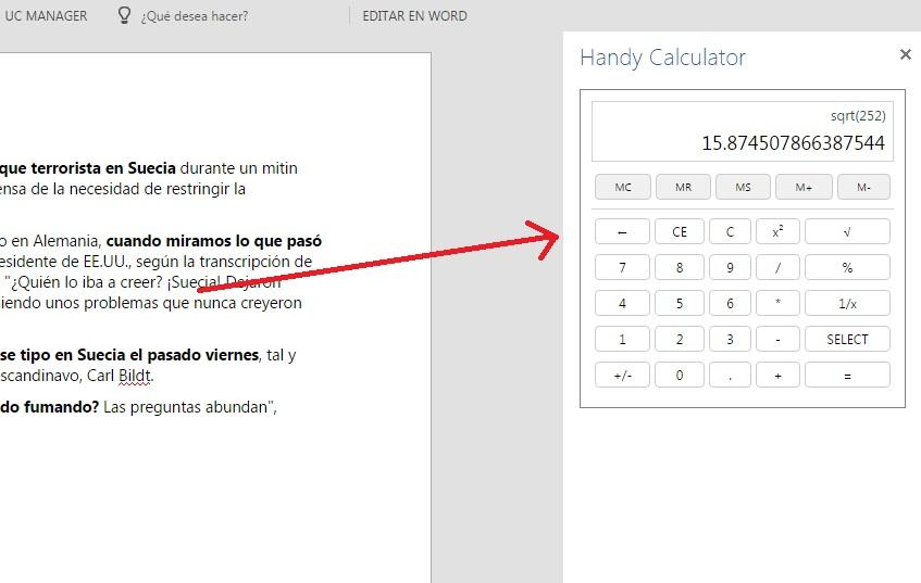 Añadir calculadora en interfaz de Word Online
