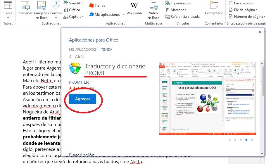 Añadir complemento PROMT para traducir texto en MS Word