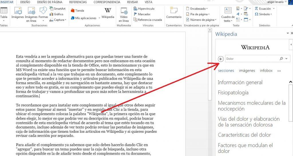 Añadir complemento Wikipedia para buscar información en MS Word