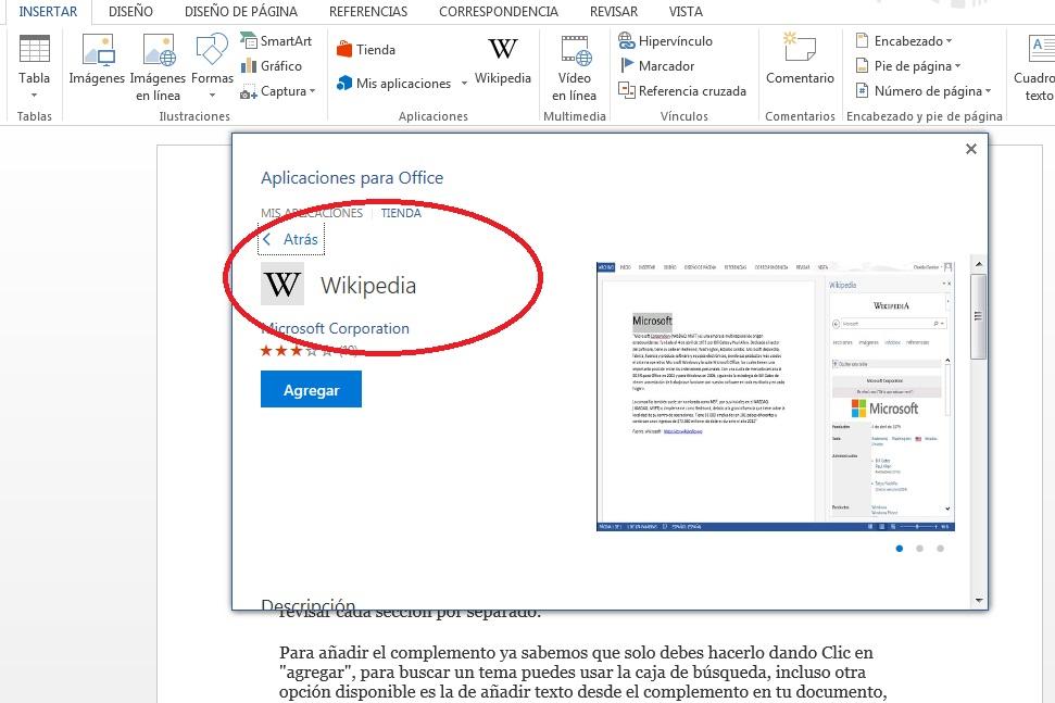 Complemento Wikipedia para buscar información en MS Word
