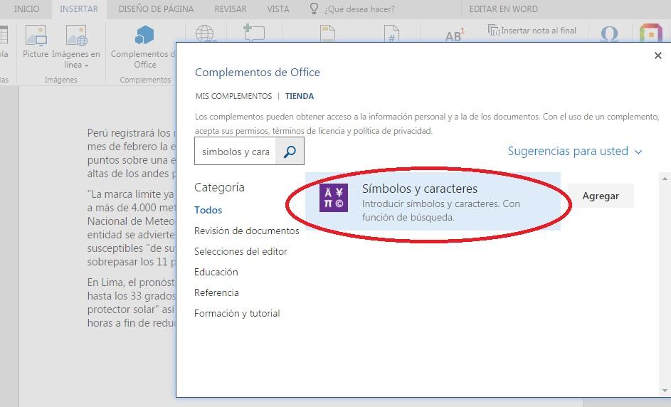 Descargar complemento para insertar caracteres y símbolos en documentos