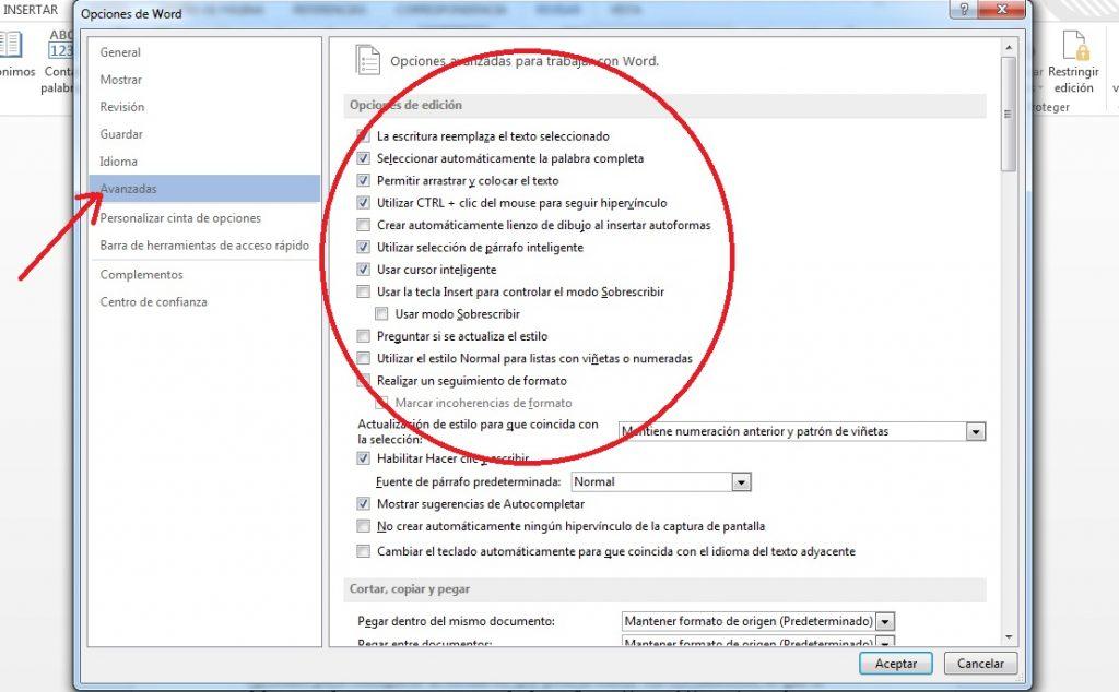 Configurar opciones de edición en MS Word