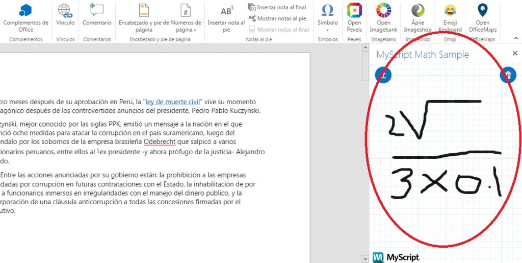 Insertar símbolos y operaciones matemáticas en documentos de Word Online