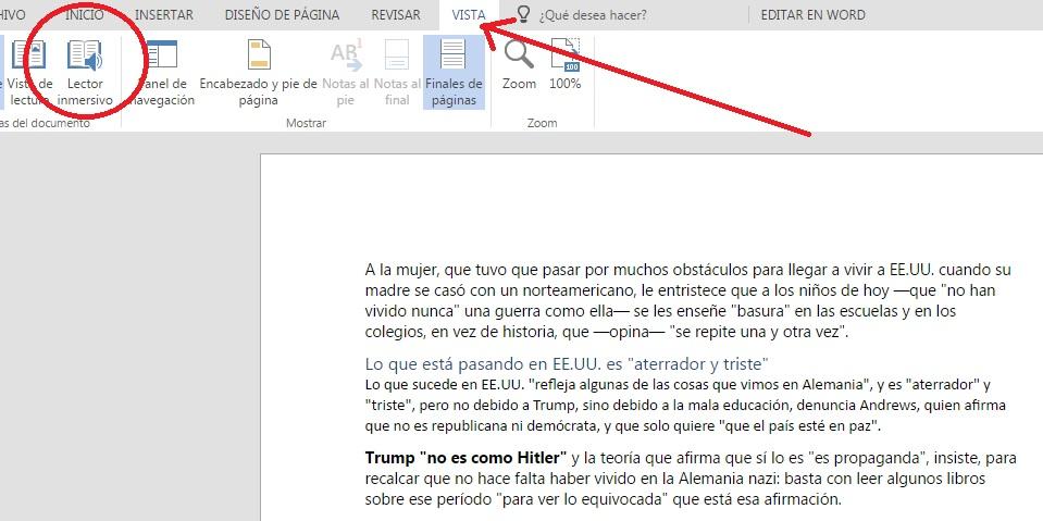 Reproducir en audio texto en Word con lector inmersivo
