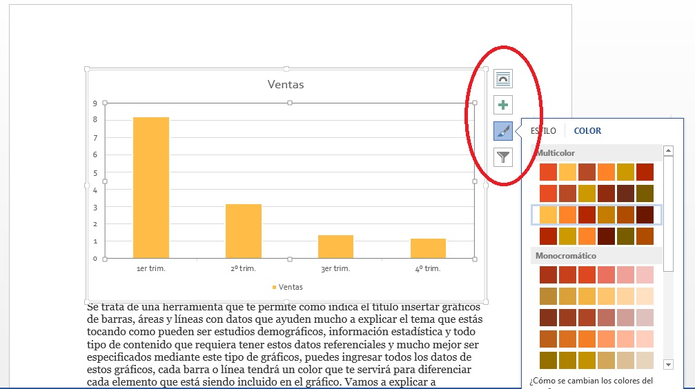 Añadir gráficos de barras y líneas en MS Word