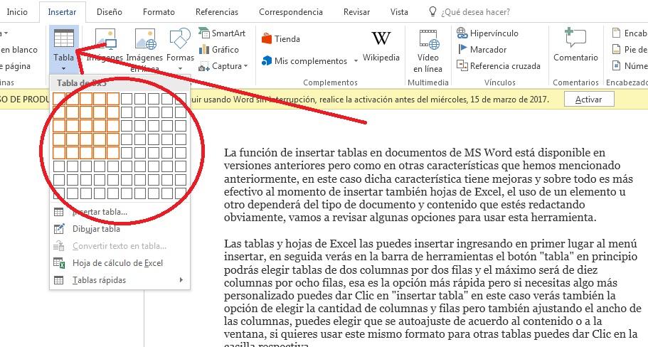 insertar tablas de contenido y hojas de excel en word 2016