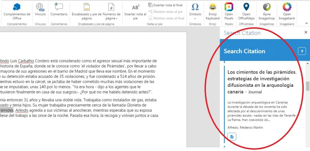 instalar complemento Search Citation en word Online