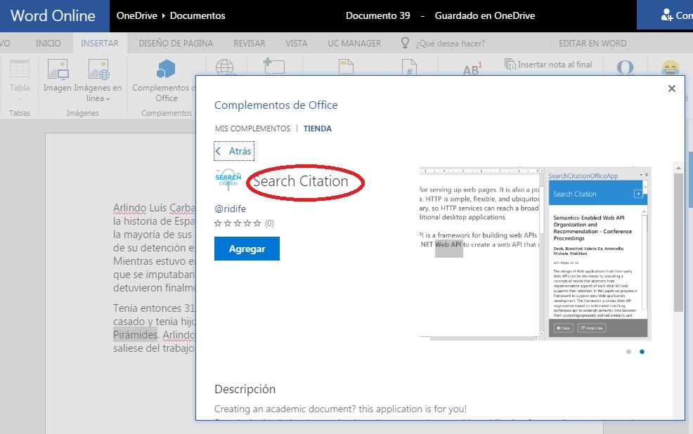 instalar complemento Search Citation en word Online