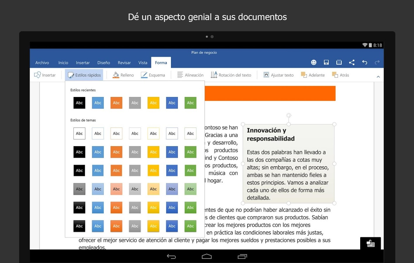 Microsoft Word para tablets Android