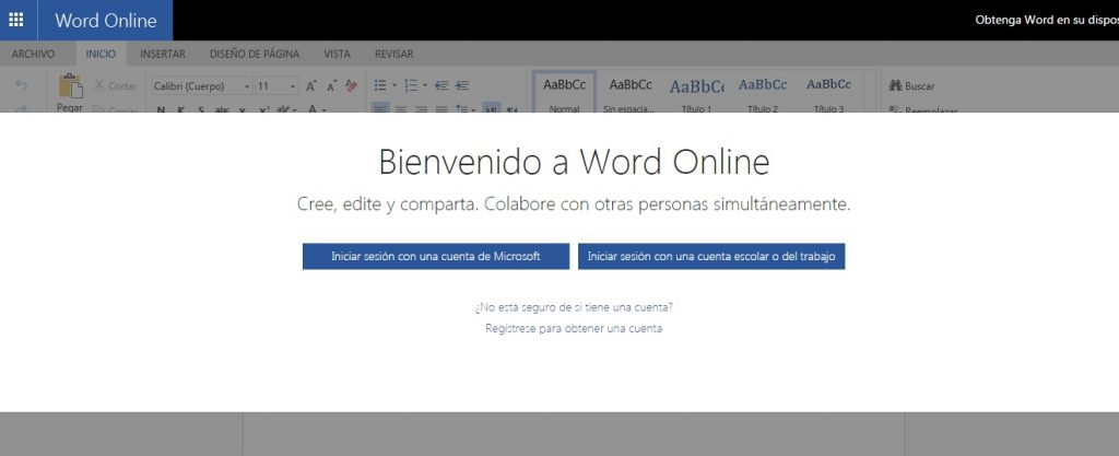 Microsoft Word Online y OneDrive