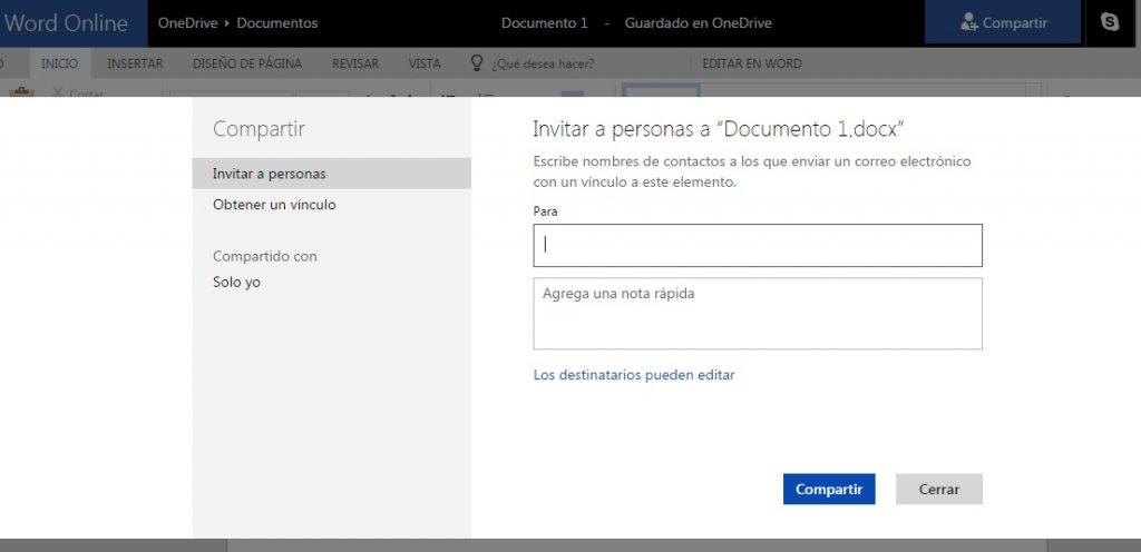 Compartir documentos Microsoft Word Online