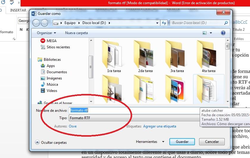 Exportar documentos de Microsoft Word en formato RTF