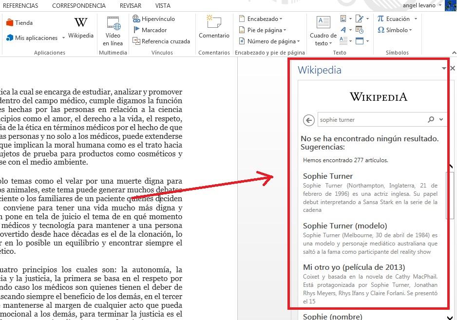 Consultar información de Wikipedia en Word