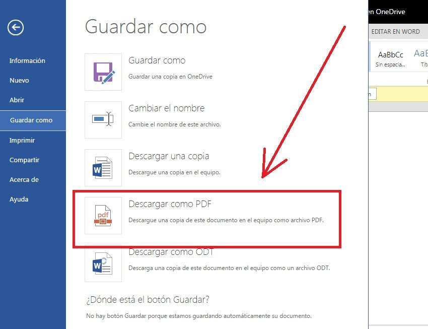Descargar documentos de Microsoft Word en formato PDF
