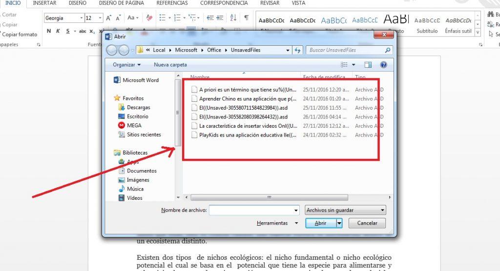 Recuperar documentos sin guardar en Word