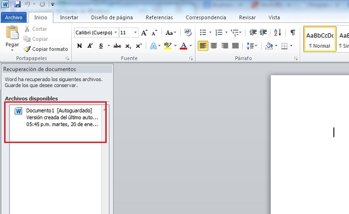Recuperar documentos sin guardar en Word