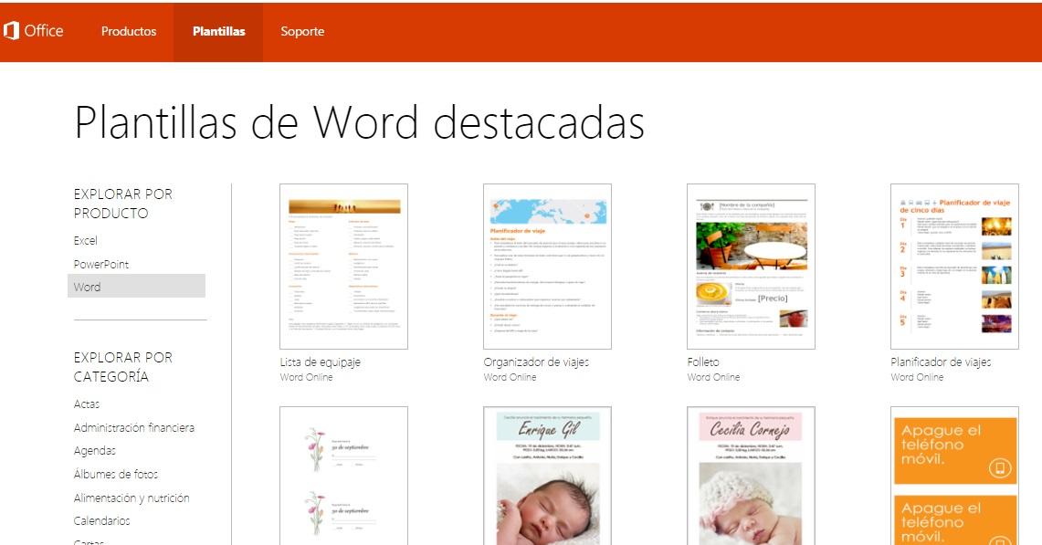 Buscar plantillas para documentos en word Online