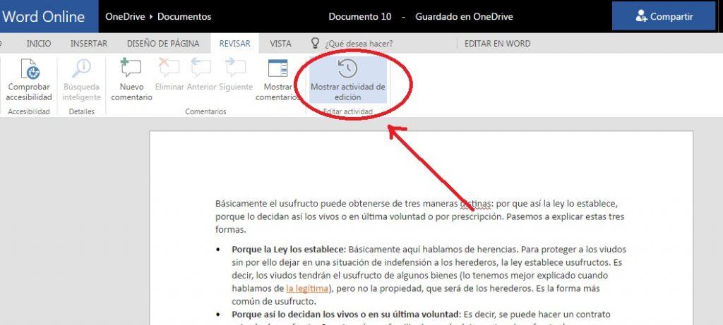 Consultar actividad de edición en Word Online