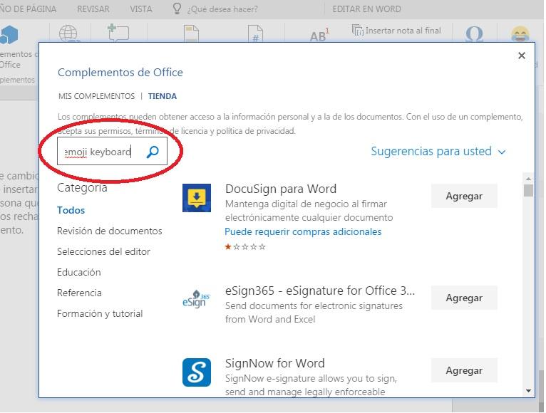Descargar complemento emoji keyboard en word Online