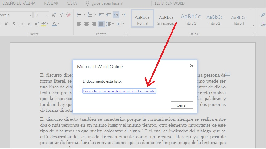Descargar copias de documentos en Word Online