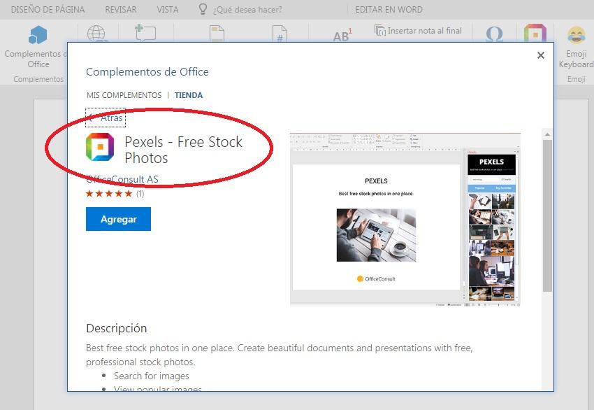 Agregar complemento Pexels para insertar imágenes en Word Online