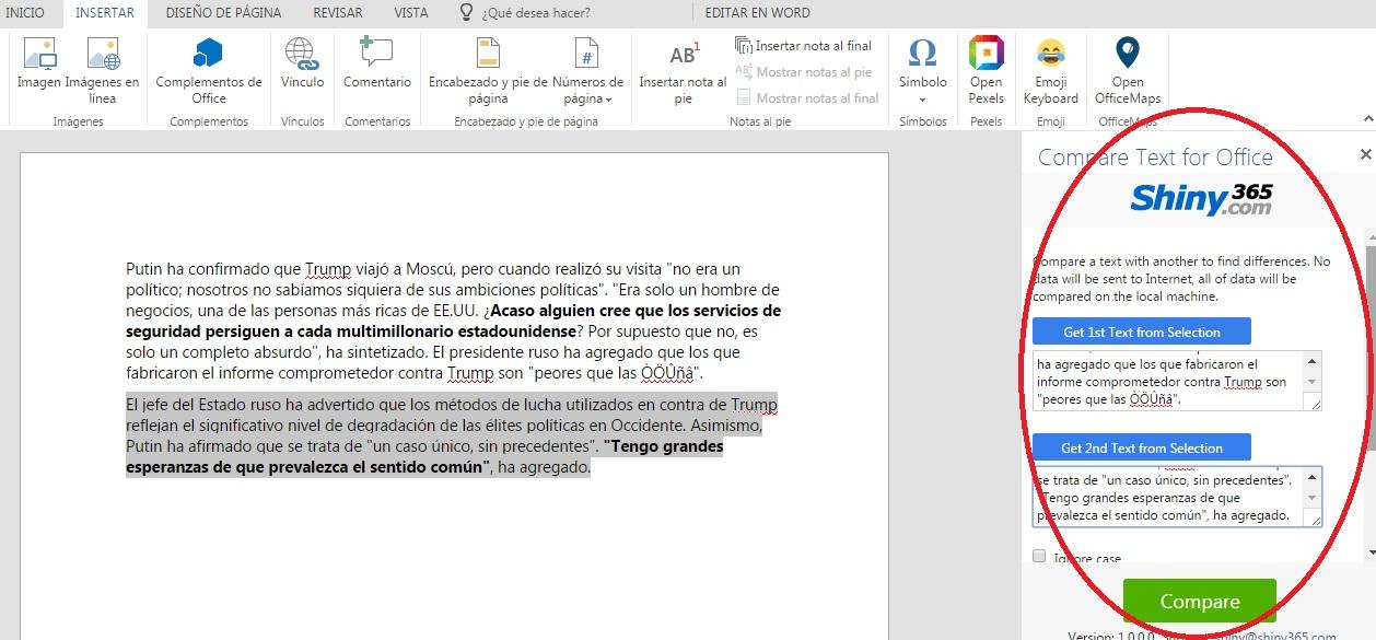 Complemento Shiny365 para comparar texto en Word Online