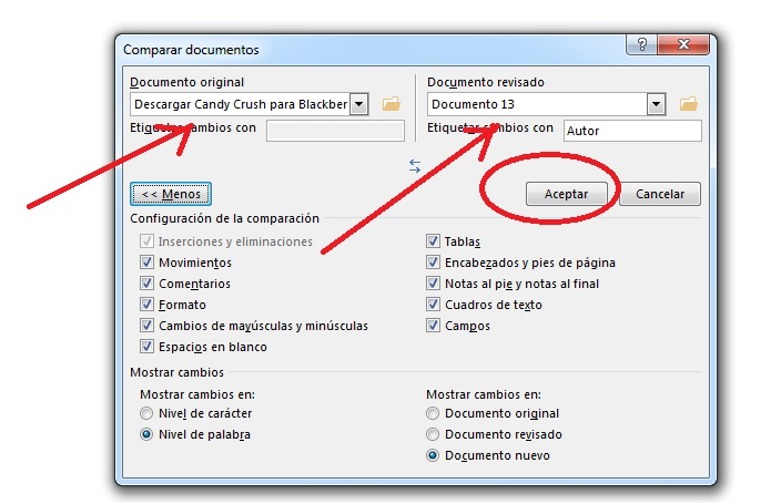 Comparar versiones de un mismo documento en MS Word