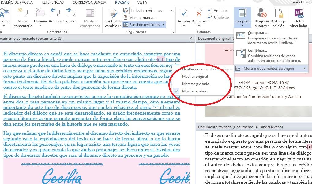 Comparar versiones de un mismo documento en MS Word
