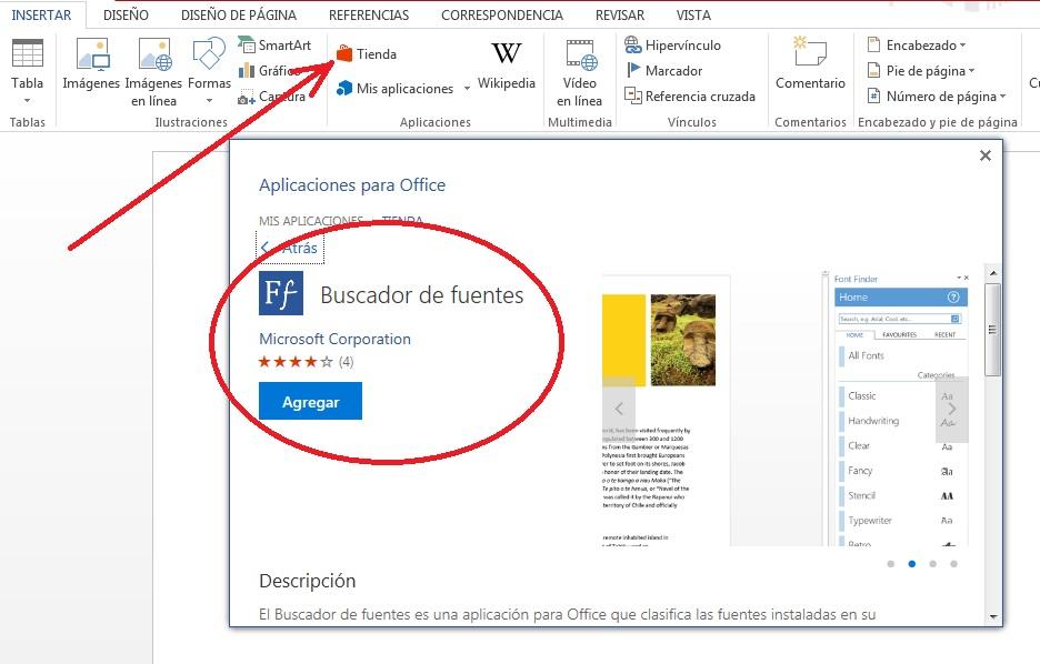descargar complemento buscador de fuentes MS Word